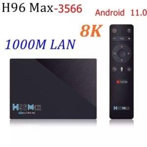 H96 MAX Android 11.0 TV BOX RK3566 4 Nhân 64 Bit 8GB 64GB/4GB 32GB LAN 1000M 2.4G/5G Wifi Kép BT4.0 4K HD Đa Phương Tiện