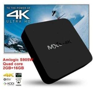 MXQ 4K TV Box Android 10.0 Media Player với Điều khiển từ xa, Amlogic S905W Quad Cortex-A7, 2GB + 16GB, Băng tần kép / Ethernet / TF / USB