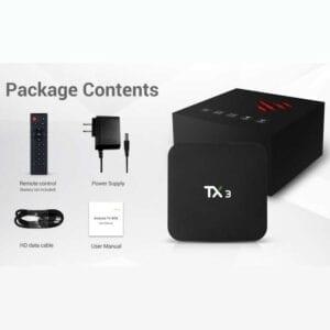 TANIX TX3 4K Smart TV BOX Android 9.0 Media Player với Điều khiển từ xa, Quad Core Amlogic S905X3, RAM: 2GB, ROM: 16GB, WiFi 2.4GHz, Bluetooth