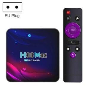 H96 Max V11 4K Smart TV BOX Android 11.0 Media Player với Điều khiển từ xa, RK3318 Quad-Core 64bit Cortex-A53, RAM: 2GB, ROM: 16GB, Hỗ trợ WiFi băng tần kép